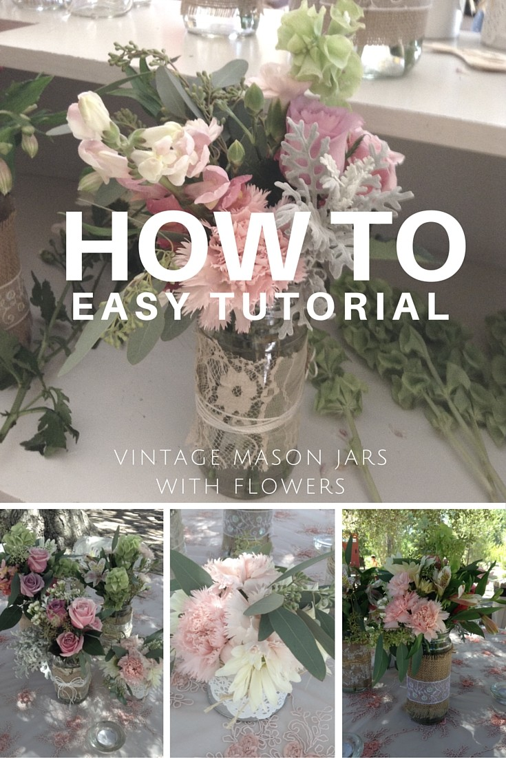 how to decorate mason jars with flowers