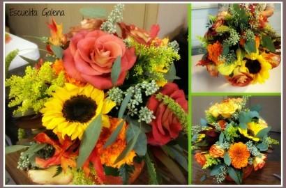 arreglo de flores otoñal en pecera