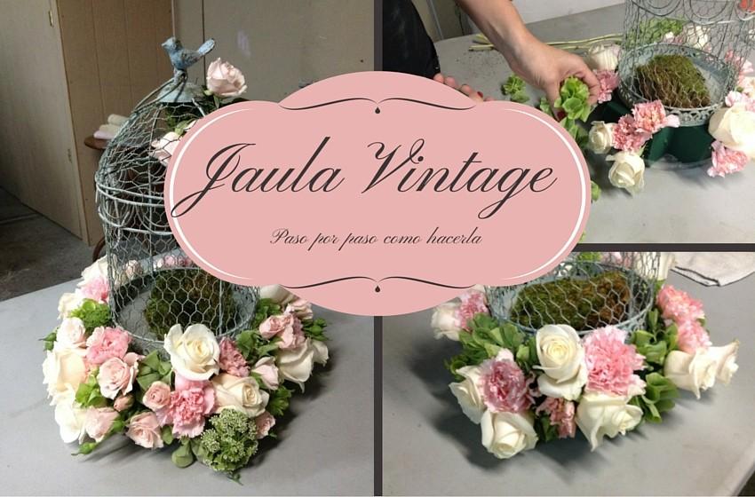 jaula con flores vintage