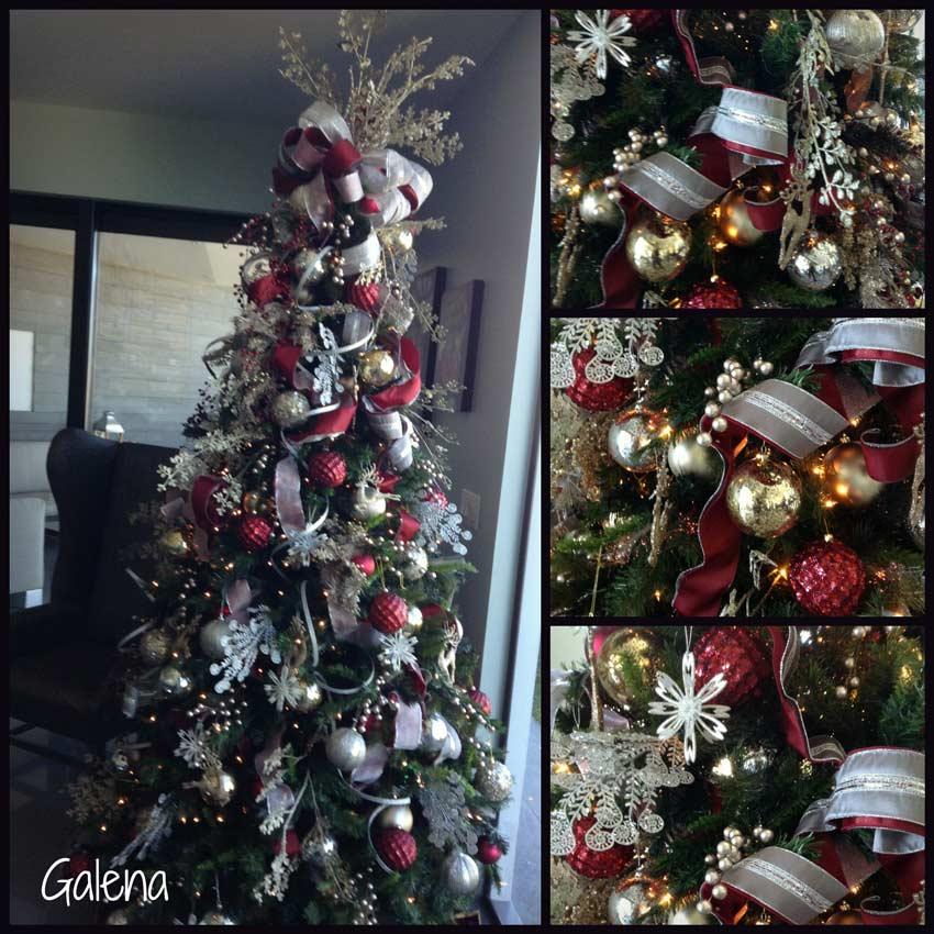 Navidad-Christmas-Decoracion-Arbol-Navideño-plateado-con-dorado-y-vino