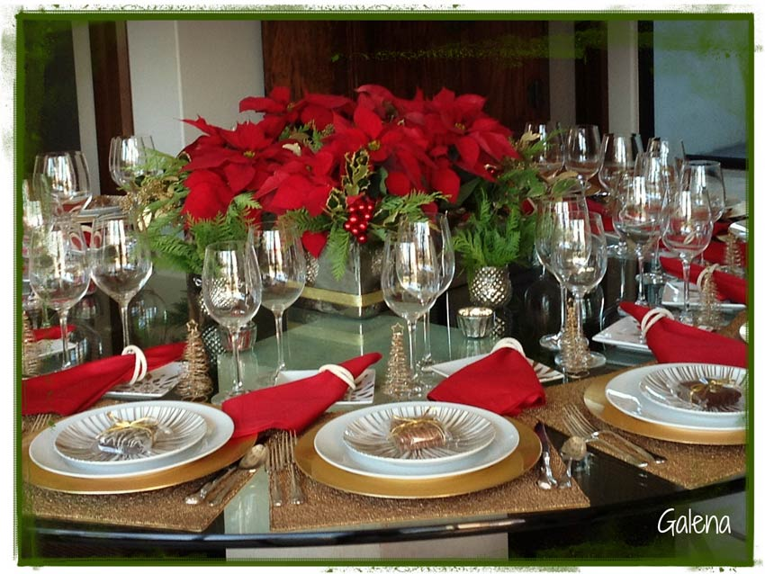 Centro de mesa con nochebuenas ana galena - Adornar la mesa para navidad ...