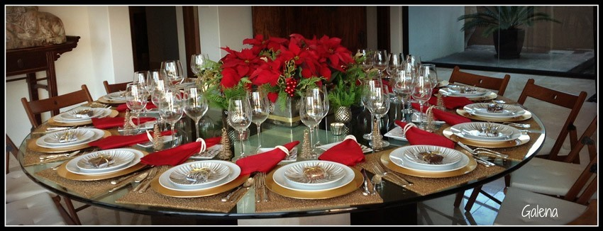 Centro de mesa con nochebuenas ana galena - Decoracion de mesas navidenas ...