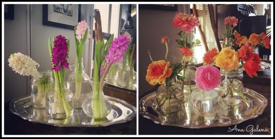 Charola de plata con frascos y flores (jacintos y renáculas)