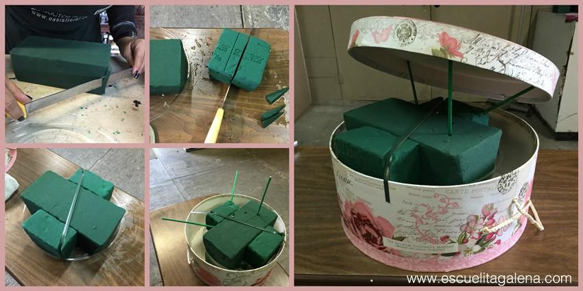 poner-oasis-arreglo-caja-de-sombrero-vintage