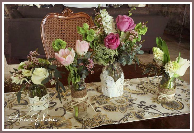 frascos vintage con flores