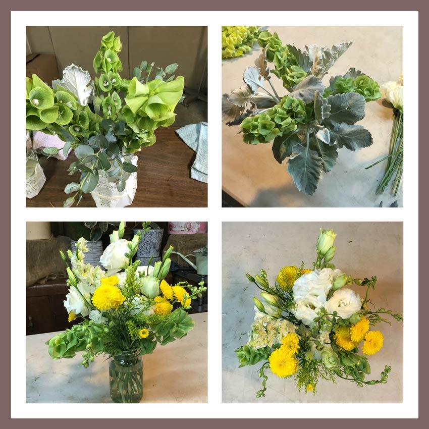 Centro de mesa vintage con frascos y flores como for Como hacer adornos con plantas naturales