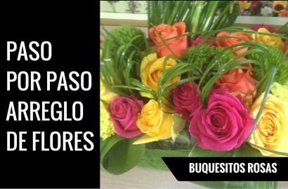 paso por paso como hacer un arreglo de flores con buquesitos de rosas