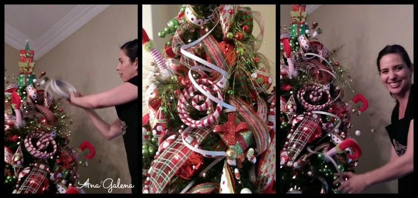 como decorar el arbol de navidad poniendo las serpentinas