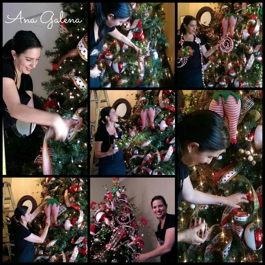 decorando el arbol de navidad
