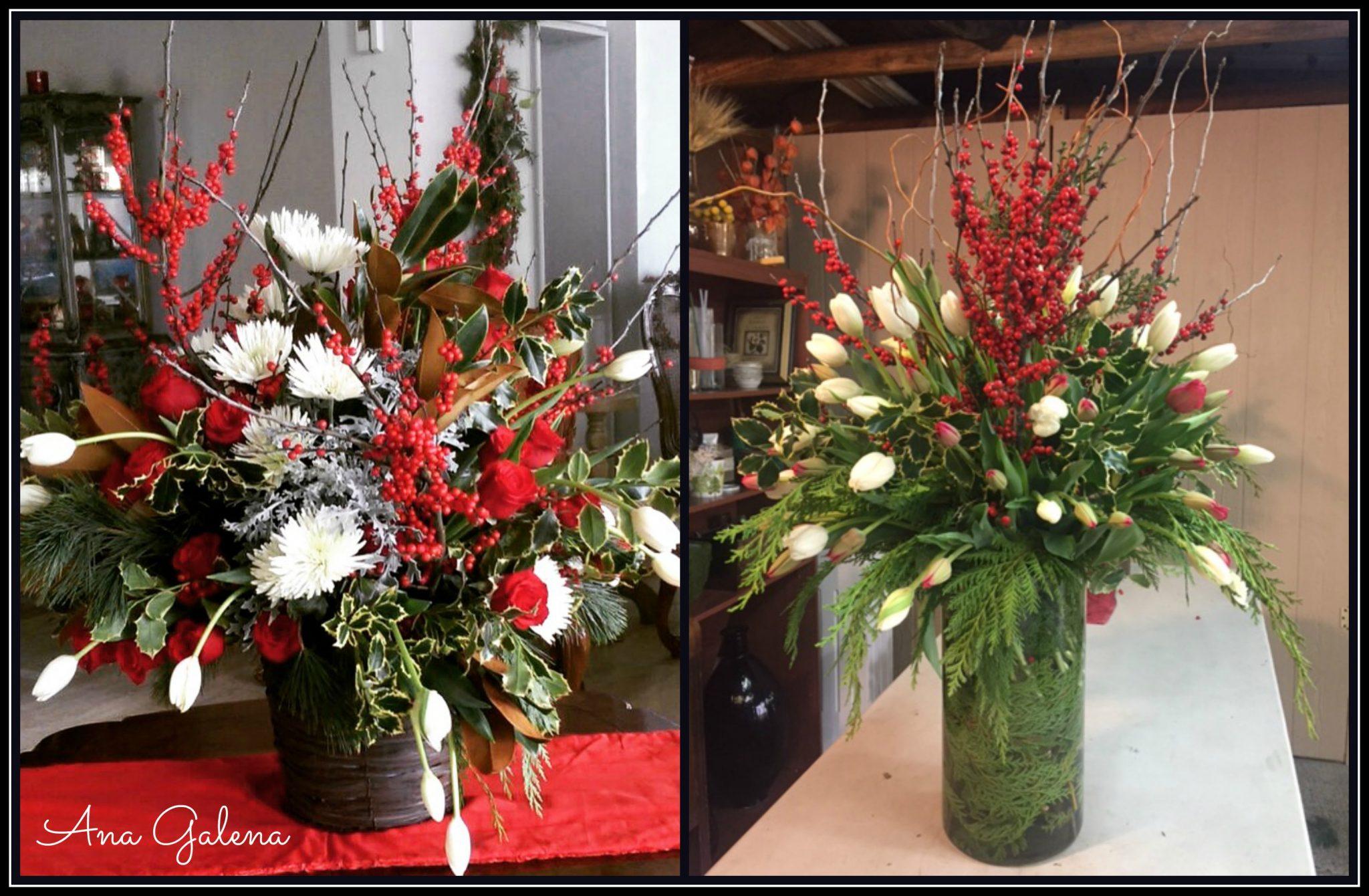 Flores naturales en navidad ilex berries ana galena for Arreglo para puertas de navidad
