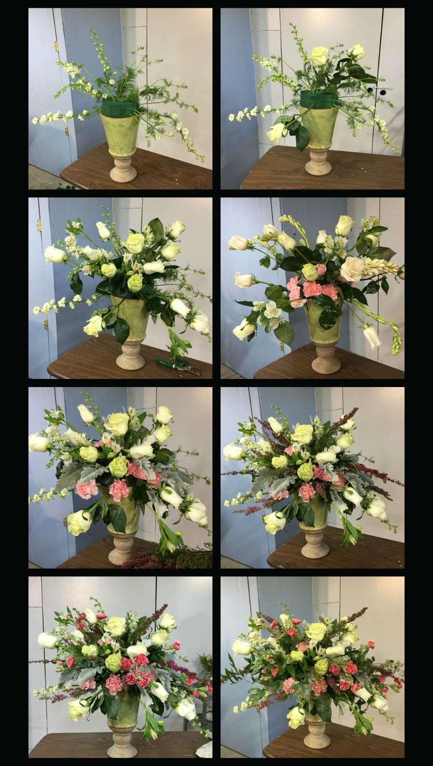 Como hacer un arreglo floral en urna con movimiento y soltura