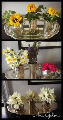 Mismos jarrones con distintas combinaciones de flores