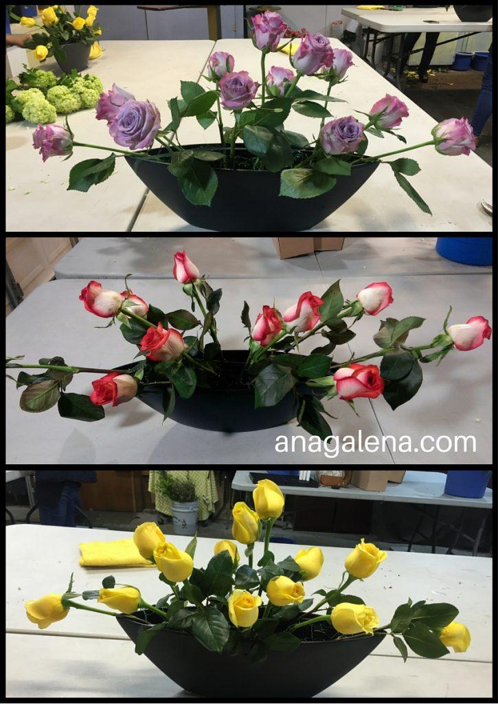 arreglo de flores con rosas