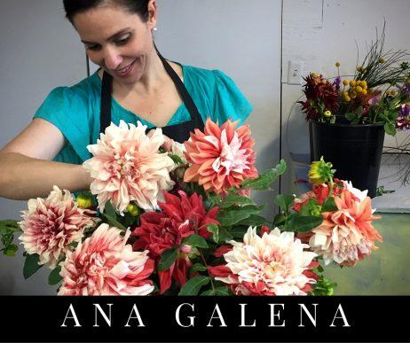 arreglo floral con dahlias y ana galena