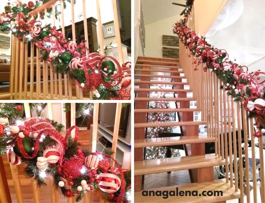 Ideas para decorar la guirnalda en navidad ana galena for Adornos navidenos para escaleras