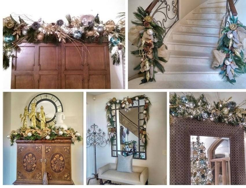 decoracion-de-guirnalda-navidena-en-dorado-para-escalera-mueble-espejo