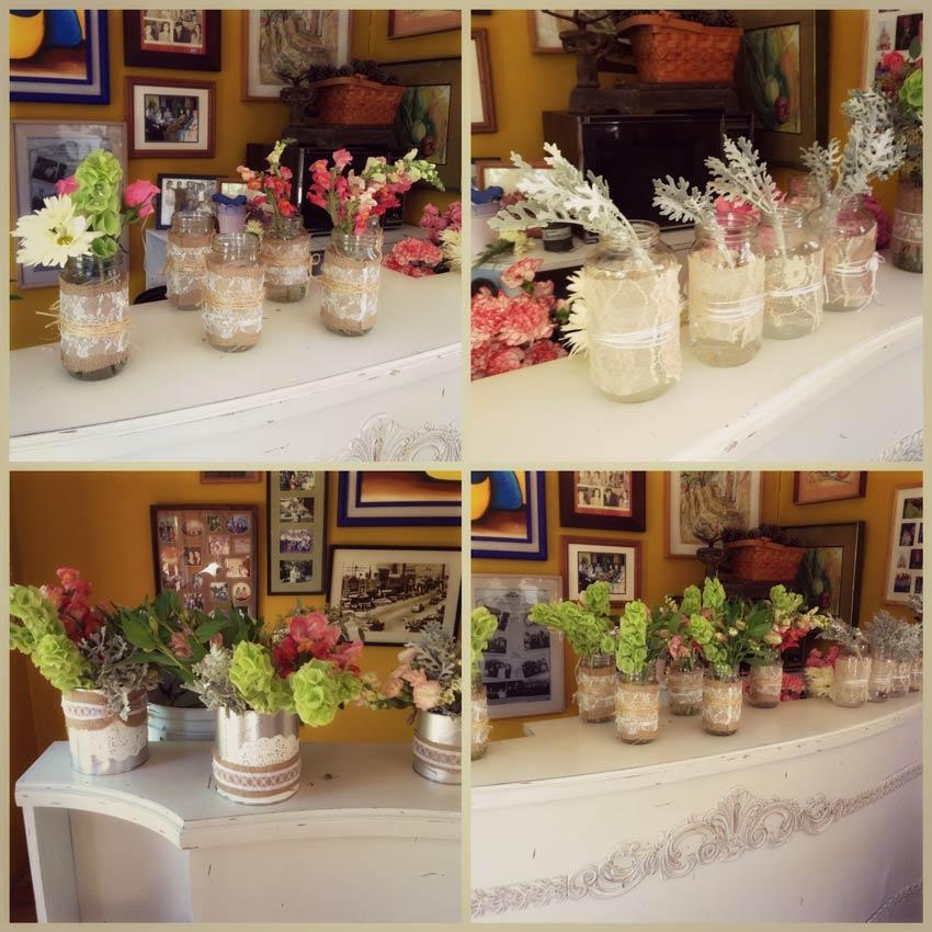 Centros de mesa en frascos estilo vintage para bautizo for Estilo vintage decoracion