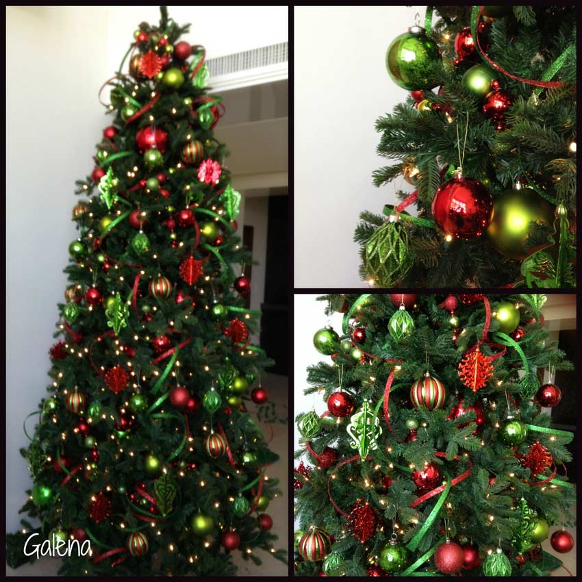 Navidad-Christmas-Decoracion-Arbol-Navideño-verde-con-rojo