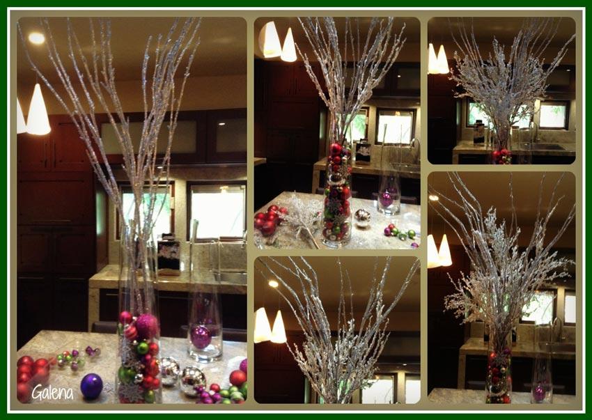 Cilindros con esferas para la entrada ana galena - Decoracion de mesa navidena ...