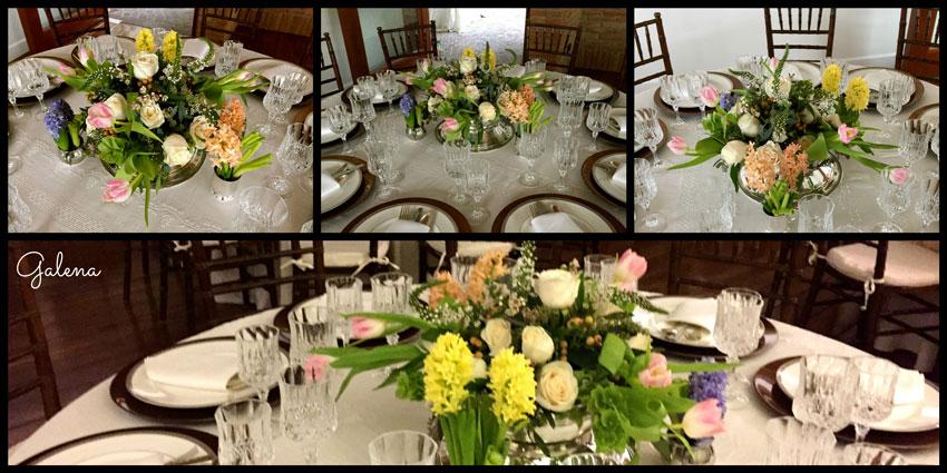 decoración-para-mesa-con-jacintos-y-tuliapnes