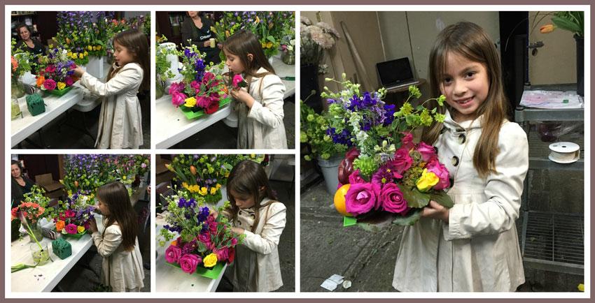 Mi hermosa aprendiz, feliz haciendo sus propios arreglos de flores