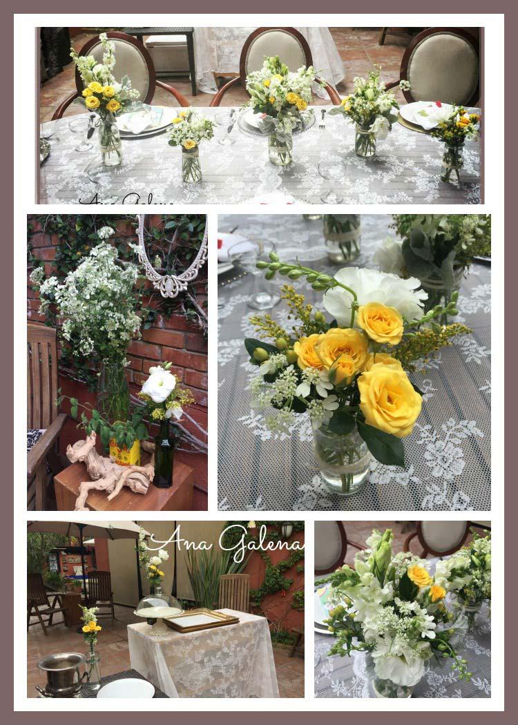 decoración vintage con frascos y flor amarilla