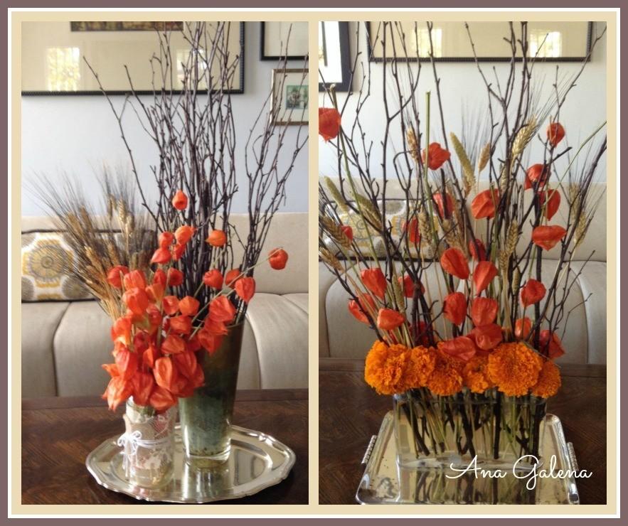 linternas chinas en arreglo de flores