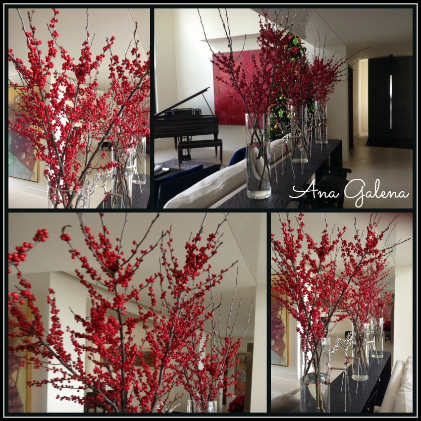 ilex berries en floreros