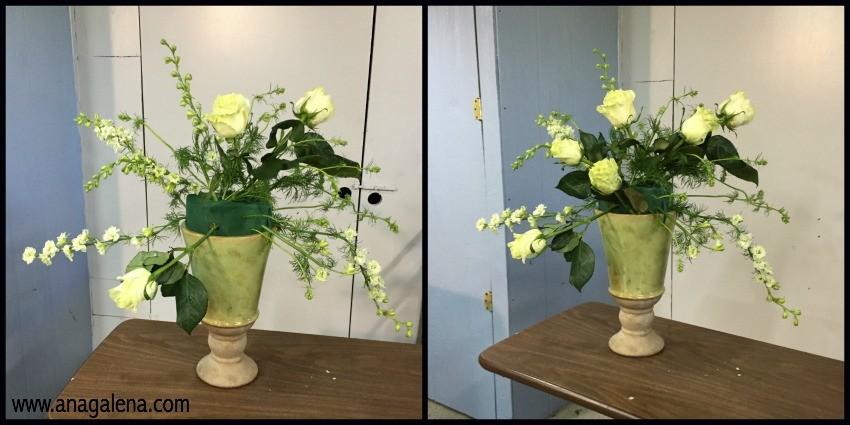 como hacer un arreglo de flores en urna paso 2