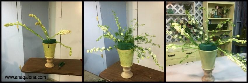como hacer un arreglo de flores en urna primer paso