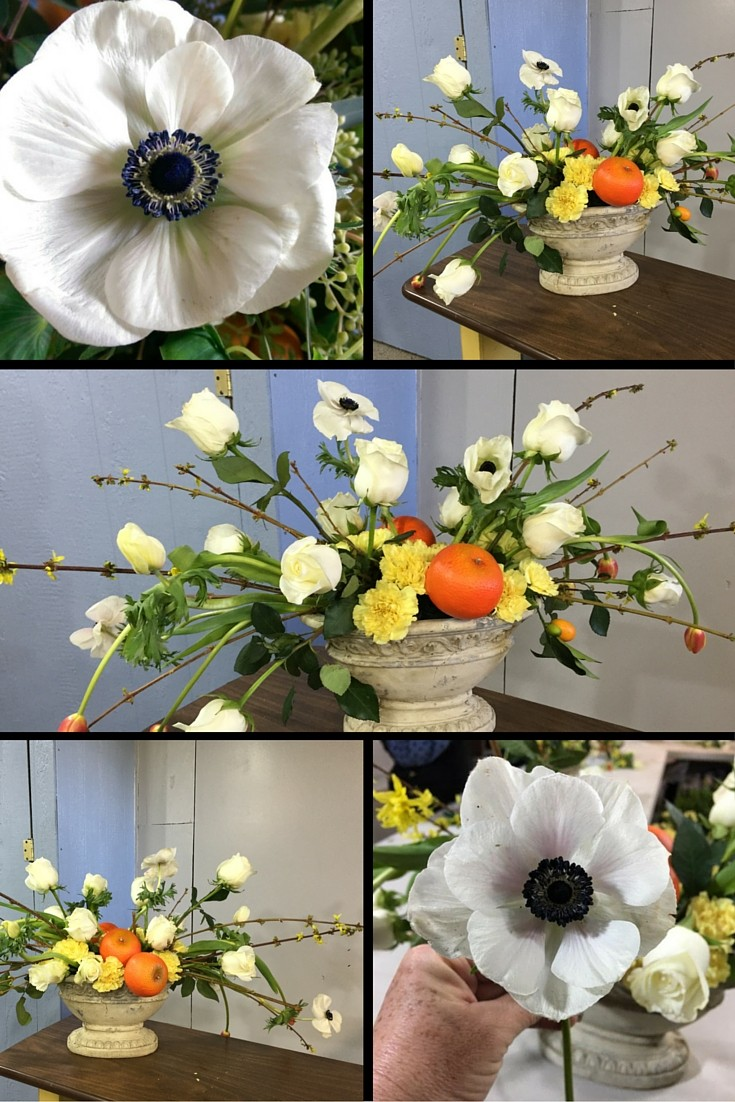 como hacer arreglo de flores anemonas