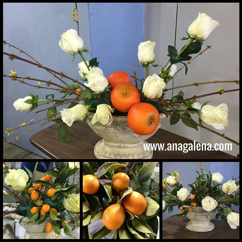 como hacer arreglo floral con naranjas