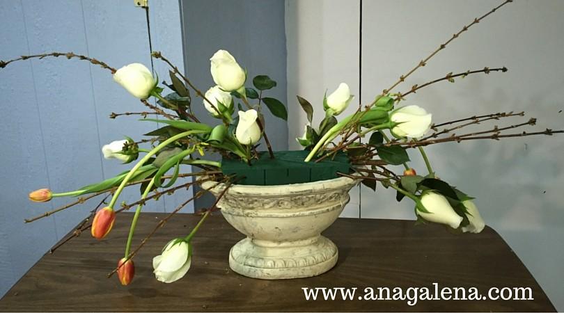 como hacer arreglo floral tulipanes