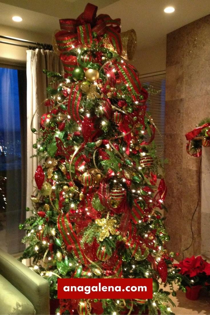 Arbol de navidad rojo con verde y dorado ana galena - Arbol de navidad morado ...
