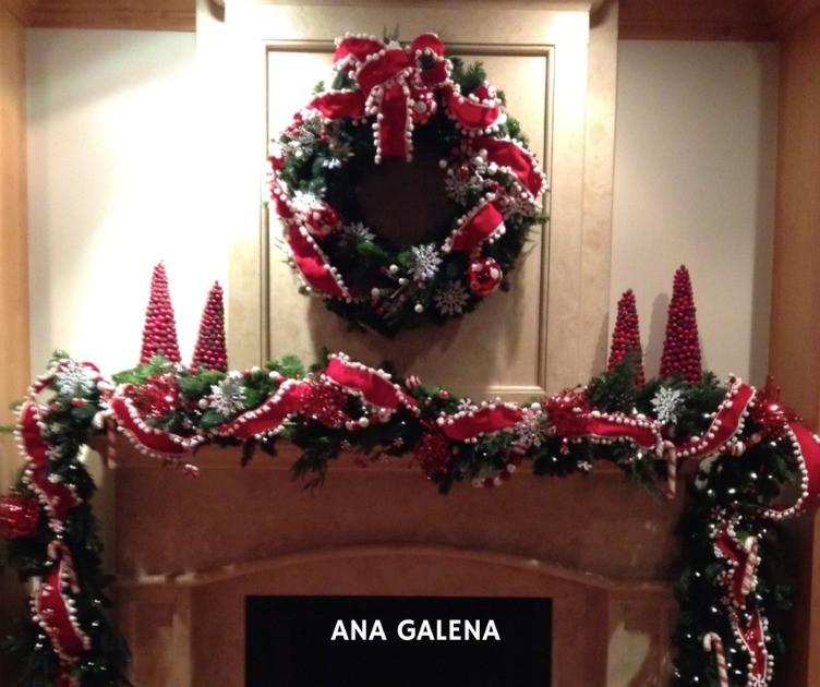 corona-de-navidad-chimenea-ideas-rojo-blanco-caramelo